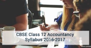 CBSE Class 12 Accountancy Syllabus 2016-2017