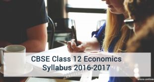 CBSE Class 12 Economics Syllabus 2016-2017