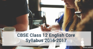 CBSE Class 12 English Core Syllabus 2016-2017