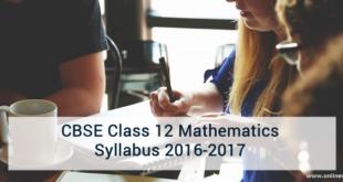 CBSE Class 12 Mathematics Syllabus 2016-2017